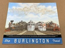 PARADE OF PROGRESS Burlington Railroad AAA Rustic Cowboy Retro Metal Tin Sign