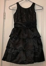 Chaps Girls Black Sequin Tiered Party Dress Sz 7 Holiday Christmas
