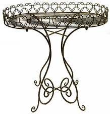 Antique Style French Wrought Iron Side Bedside Coffee Serving Table 70cmH
