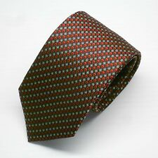 NWT Battisti Napoli Tie Red Black & White Geometric 100%Silk Made in Italy