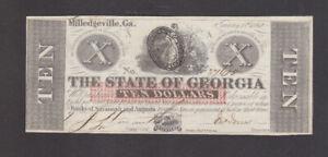 10 DOLLARS AUNC CRISPY BANKNOTE FROM CONFEDERATE STATES/GEORGIA 1862