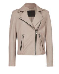 All Saints Ladies Size 12 Rosewater Pink Dalby Biker Jacket