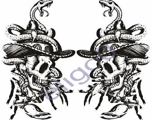 2x skull sticker Motorcycle Gas Tank car bumper decal 5