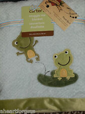 BABY BLANKET CARTERS FROG BLUE GREEN LILY PAD  WAFFLE NEW SNUGGLE ME SWADDLE NEW