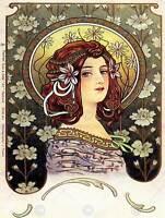 VINTAGE LADY FLOWERS MUCHA 1902 NOUVEAU NEW FINE ART PRINT POSTER CC5038