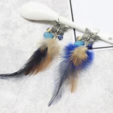 Elegant Women Feather & Butterfly Dangle Ear Stud Fashion Earrings Charm Jewelry