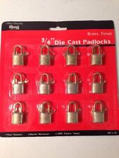 "12 New Old Stock Brass Finish Die Cast 3/4"" Padlocks"