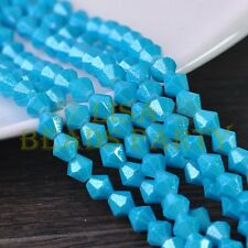 New 100pcs 4mm Bicone Silver Foil Faceted Glass Loose Spacer Beads Lake Blue