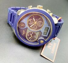 NY LONDON GENTS JUMBO DIAL 3 DIAL PURPLE AND GOLD RUBBERISED BRACELET WATCH