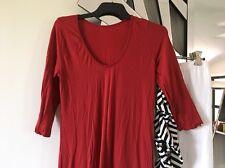 VIGORELLA Ruby Scarlet Red Stretch Sleeve Layering Tunic Maxi Dress 8 10 12 PC