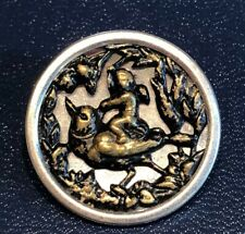 """antique picture button---RIDING ROBIN-MIRRORED BACKGROUND, 1 1/8"""""""