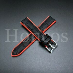 20-22 MM Color Silicone Rubber Leather Crocodile Watch Band Strap For Luminox