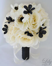 17pcs Wedding Bridal Bouquet Silk Flower Decoration Package BLACK IVORY ANEMONE