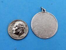 Vintage silver LARGE ENGRAVABLE POLISH FLORENTINE DISC charm 25 MM NEW SD0638 #F