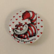 """Tokyo Disney Resort Cheschire Cat Button Alice in Wonderland Pin 1.5"""""""