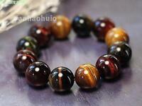 12MM Natural Colorful Tiger Eye Stone Gemstone Beads Men Jewelry Bracelet Bangle