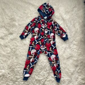 The Childrens Place Fleece Football Hooded One Piece Pajamas Little Boys XS 4