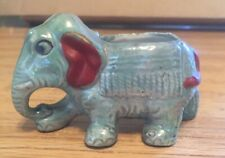 Cute Vintage Luster Ceramic Green Elephant Figurine