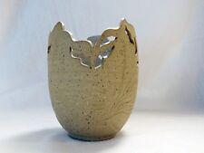 "Earthenware pottery vase 6"" tall, pierced design,tan color, glazed inside SIGNED"
