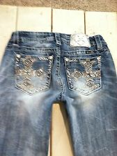 MISS ME Distress Mid-Rise Easy Boot Rhinestone JEANS Women's 28 EXCELLENT