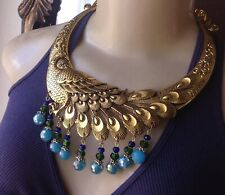 Peacock Necklace Giant Bib Pendant W/ Crystal Beaded Fringe