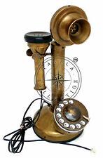 Antique Brass Landline Telephone Vintage Rotary Dial Nautical Candlestick Phone