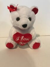 """9"""" Bear With Heart White New No Tags"""