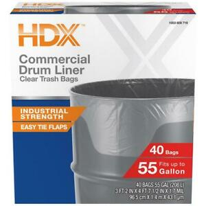 HDX Commercial Clear Heavy-Duty Flap Tie Drum Liner Trash Bags 55 Gallon 40 ct