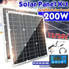 200W (2x 100W) 12V Solar Panel Kit, 60A Solar Controller for Off Grid, Home, RV