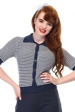 Collectif Vintage Orchid Navy White Striped Cardigan Size 8