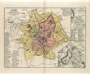 1878 ANCIENT ROME CITY PLAN FORUM and CAPITOLIUM  Antique Map H.Kiepert