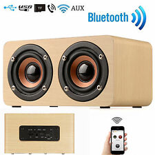 Vintage Wooden 3D Stereo Wireless Bluetooth Dual Loudspeake SPEAKER