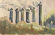 VINTAGE FIRLANDS TOWER UNITED KINGDOM 1955 FOLK ART PRIMITIVE LANDSCAPE PAINTING