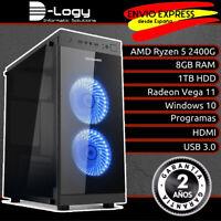 D-Logy Ordenador PC AMD Ryzen 5 2400G 8GB 1TB Radeon Vega 11 LED azul Windows 10