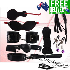 Sexy Black 8 Piece Set Introductory Bedroom Fantasy Role Play Kit Handcuff Whip