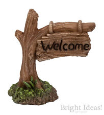 Vivid Arts MINIATURE WORLD FAIRY GARDEN HOME ACCESSORIES Welcome Tree Trunk Sign
