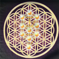 "Colorful Crystal Grid Cloth 100% Cotton Sacred Geometry Beautiful Healing 18""x18"