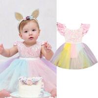 Toddler Kids Baby Girl Rainbow Sequins Princess Romper Sleeveless Tutu Dress AU