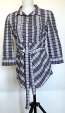 Kool Hearts Gray Plaid Button-Up Belted Tunic 3/4 Sleeve Roll Tab Cuff Shirt M