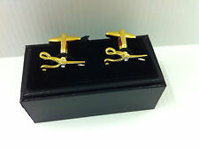 Scissors, Gold & Rhodium plated cufflinks, for hairdressers  etc.