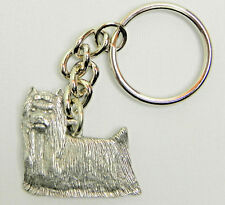 Yorkie long hair Dog Keychain Keyring Harris Pewter Made Usa Key Chain