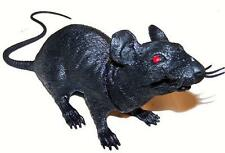 LARGE 17 INCH BLACK RUBBER REALISTIC FAKE RAT novelty halloween prop joke trick