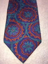 """STRUCTURE MENS TIE BLUE TEAL RED AND ORANGE GEOMETRIC    3.75"""" X 58.75"""""""