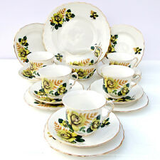 Vintage Queen Anne Bone China Floral Yellow Roses 18 Piece Tea Set Cups Saucers