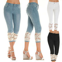 Plus Size Women Slim Fit High Waist Denim Lace Cropped Capri Trousers Jeans Pant