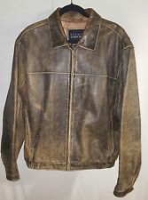 VTG Studio Andrew Marc/Wilson's Leather Full Zip Brown Leather Jacket Mens (L)