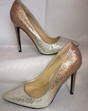 Silver Ombré Shoes Size 3 Gold Stiletto Shiny Glitter Metallic Wedding Prom