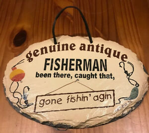 """Hand Painted SLATE 9.5"""" X 6.5""""Wall Hanging Plaque Sign PLAIN JANE Fisherman Fish"""