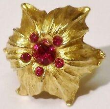 bague bijou vintage couleur or déco fleur cristal rouge rubis taille réglable P