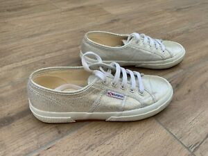 Womens Superga Silver Leather Pumps Trainers UK 5